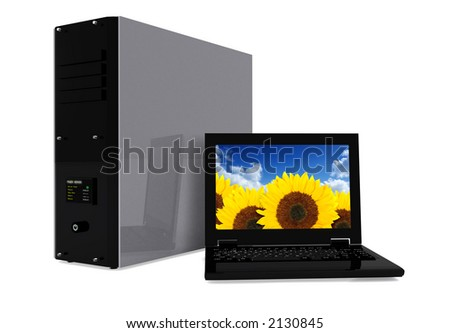 pc tower and laptop 2 over white - high resolution render - stock photo