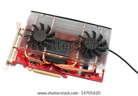 pc video card with big alu cooler with two 80x80mm small fans