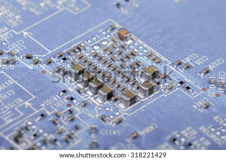 PCB background. Closeup with shallow DOF. - stock photo