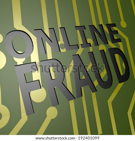 PCB Board with online fraud - stock photo