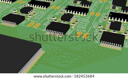 Pcb 3d Device Design Wiring Schemeprinted Stock Illustration ...
