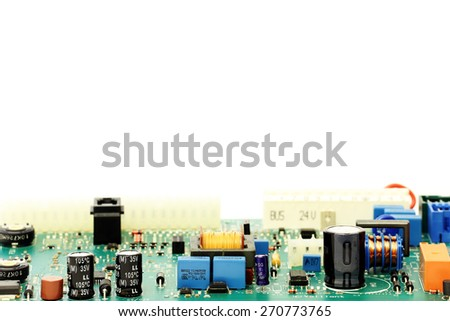 PCB on white background - stock photo