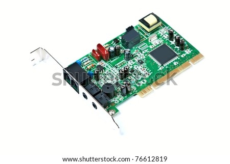 PCI network card on white background