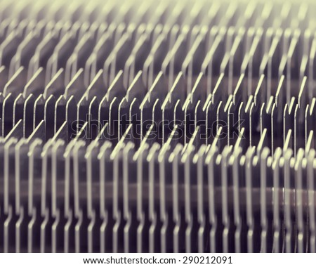 PCU cooler metal details close-up. shallow depth of field, creative effect - stock photo