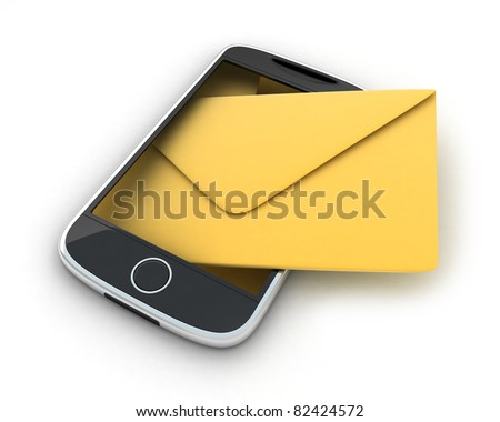 PDA, abstract SMS (done in 3d, isolated) - stock photo