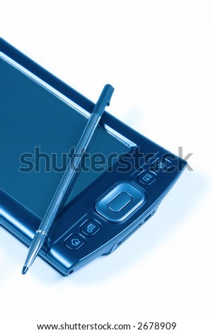 PDA and Pen on white background - stock photo