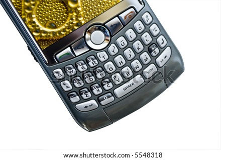 PDA device isolated over white with copy space