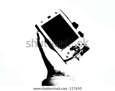 PDA held in hand - stock photo