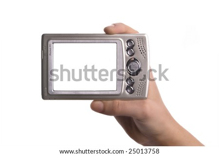 Pda in hand, the white screen alone for your convenience 2 - stock photo