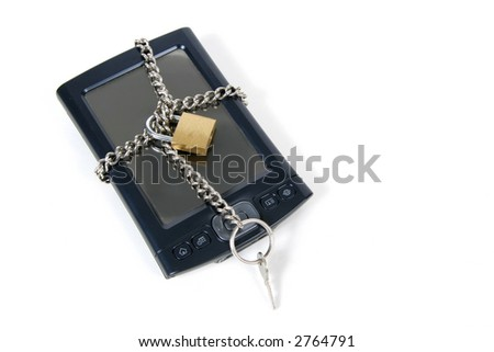 PDA Locked Up for Security,  Isolated on white background - stock photo