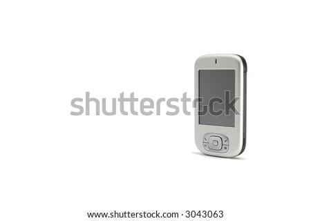 PDA phone isolated on white - stock photo