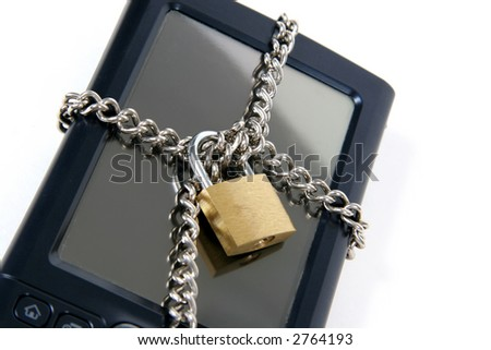 PDA with Lock and chain over it.  Isolated on white background - stock photo