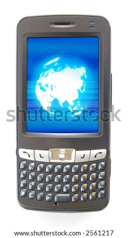 pdaphone and globe with mobility wireless - stock photo