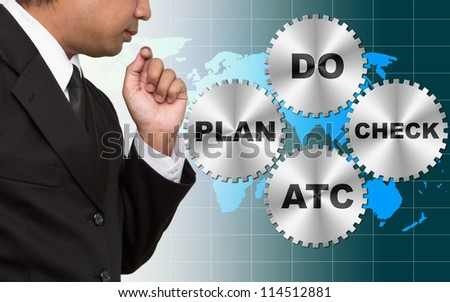 PDCA Lifecycle (Plan Do Check Act) on world map - stock photo