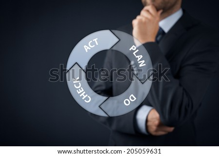 PDCA (plan-do-check-act) cycle - four-step management and business method. Contemplate manager supervise in background. - stock photo