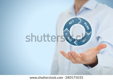PDCA (plan do check act) cycle - four-step management and business method offered by manager. - stock photo