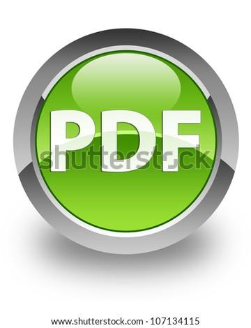PDF icon on glossy green round button - stock photo