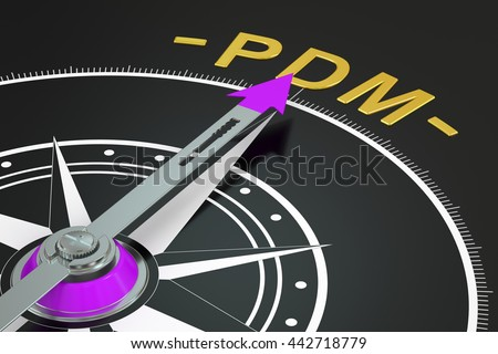 PDM compass concept, 3D rendering - stock photo