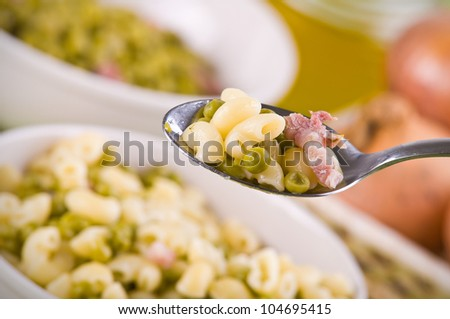 Pea and pasta soup. - stock photo