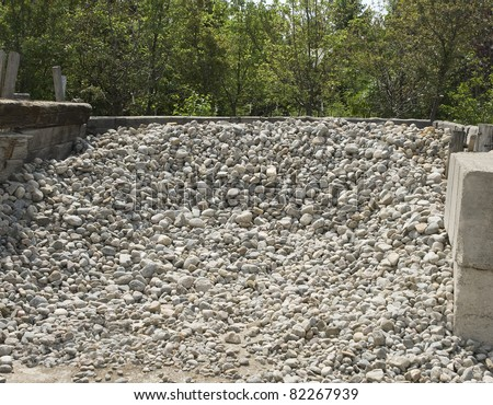 pea gravel for landscaping - stock photo