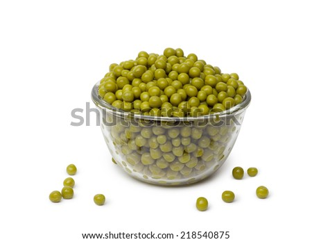 Pea Pod in bowl on a white background - stock photo