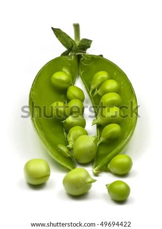 Pea Pod with Peas. - stock photo