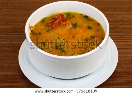 Pea soup with ribs, vegetables and spices