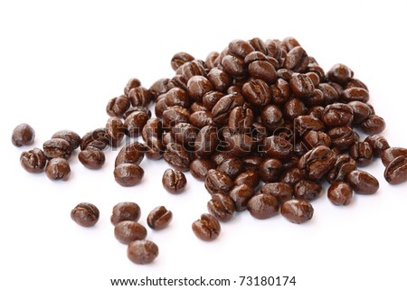 Peaberry coffee beans closed-up. - stock photo