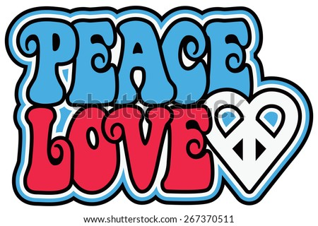 Peace and Love retro-styled text design with a peace heart symbol in patriotic colors. - stock photo