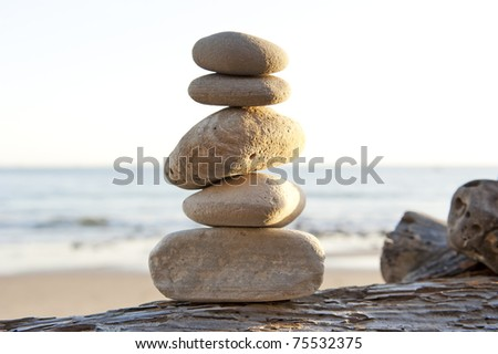 peace and tranquility on the beach - stock photo