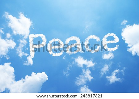 Peace clouds word on sky - stock photo