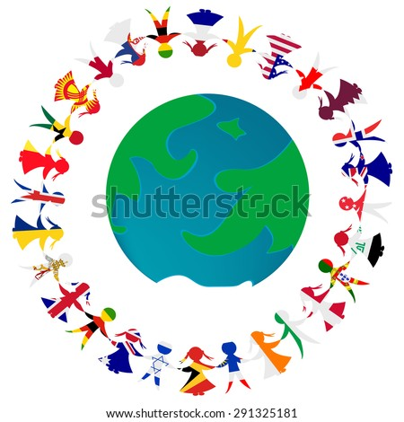 Peace concept with Earth globe and holding hands people patterned in the World's flags - stock photo