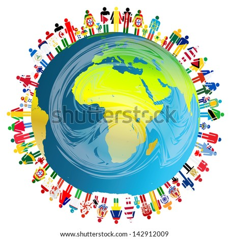 Peace concept with planet Earth and people - stock photo