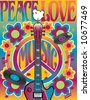 Peace Love Music  illustration of a guitar, peace symbol and dove. A tribute to the Woodstock Music and Art Fair of 1969. Vector also available. - stock vector