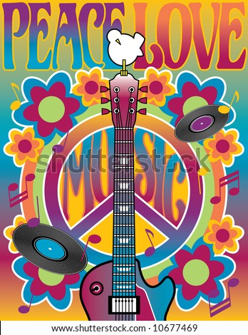 Peace Love Music  illustration of a guitar, peace symbol and dove. A tribute to the Woodstock Music and Art Fair of 1969. Vector also available. - stock photo