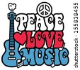 PEACE LOVE MUSIC text design with peace symbol, guitar,dove, heart and musical notes in red, white and blue. - stock photo