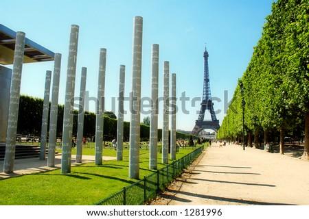 Peace Monument and Tour Eiffel, Paris - France - stock photo