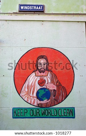 peace mural of jesus and earth - stock photo