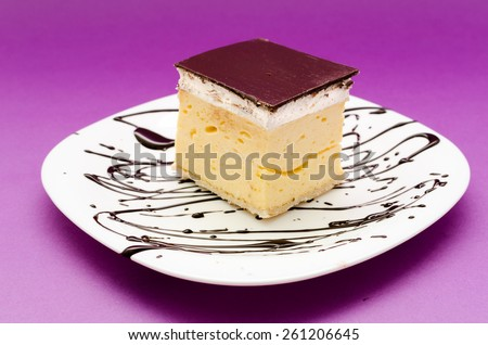 Peace of cake isolated on white plate with chocolate topping - stock photo