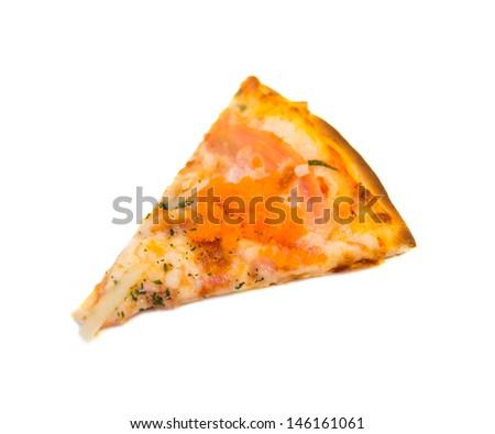 Peace of Salmon pizza - stock photo