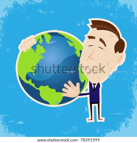 Peace On Earth/ Illustration of a cartoon man holding earth in his arms symbolizing peace and love
