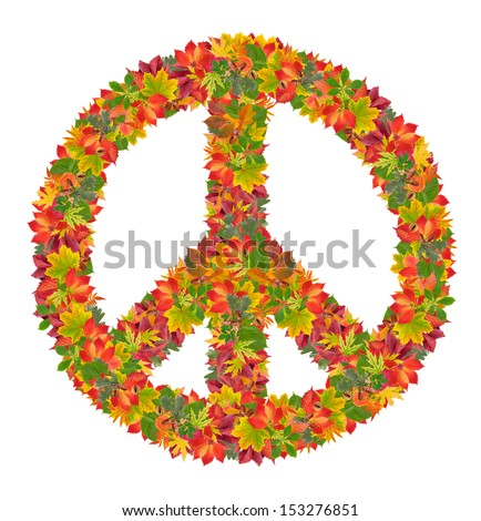 peace sign from colorful leaves, isolated on white background - stock photo