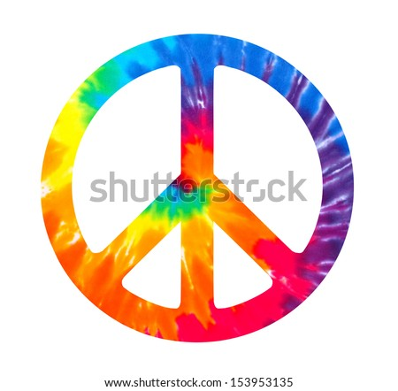 Peace sign illustration on white - stock photo