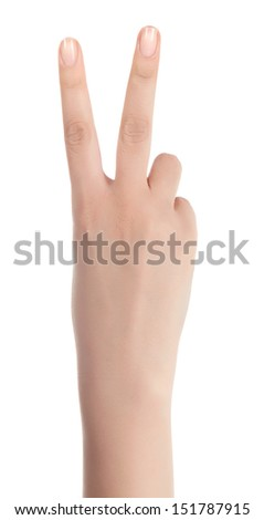 Peace sign is known around the world. - stock photo
