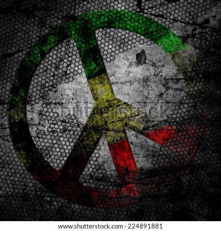 Peace sign rasta grunge background textured on concrete wall - stock photo