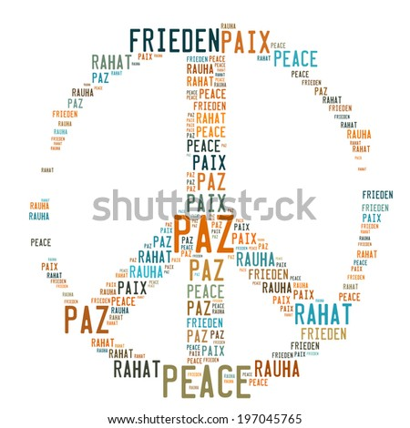 Peace Sign Shaped Word Cloud on white background. - stock photo