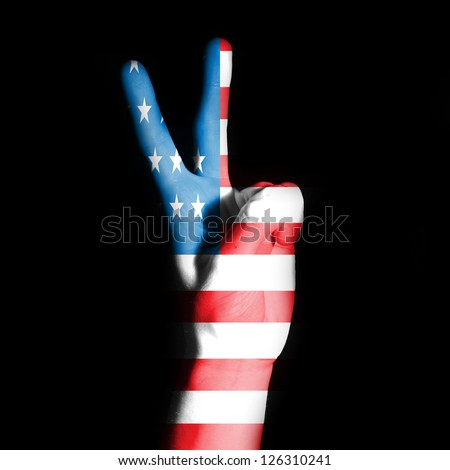 Peace sign with USA flag - stock photo