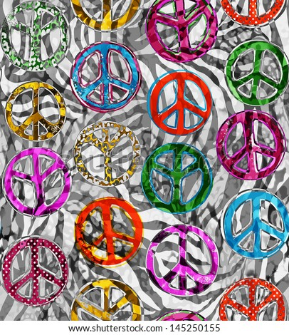 Peace signs over zebra seamless background - stock photo