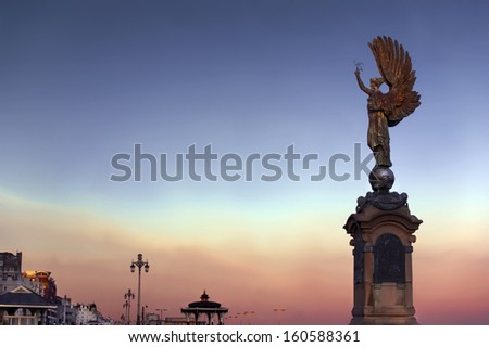 Peace Statue at the evening sky, Brighton - stock photo