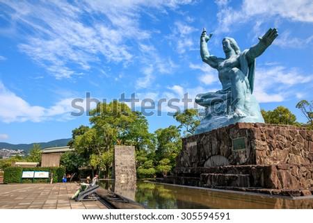 Peace Statue in Nagasaki Peace Park, Nagasaki, Japan.  - stock photo